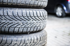 Tires of a car Stock Photos