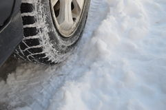 Tires and car wheels in the snow 2. Snow tires, wheel in the snow, winter tires, car in the snow, rolling in the snow Royalty Free Stock Photography