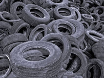 Tires Cemetery. Old car Tires dumped in a landfill Royalty Free Stock Photos