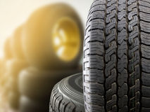 Tires. Close up tires with sun flare for sell in tires shop stock photography