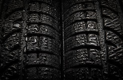Tires. Close-up texture of tires with water drops stock image