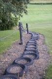 Tires Down a Hill in Iowa Stock Photos