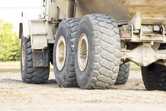 The tires from a dump truck. The tires and wheels from a heavy duty dump truck Stock Photography