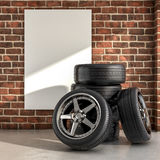 Tires on the garage Royalty Free Stock Photos