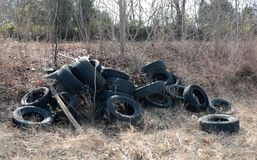 Tires Illegally Dumped in a Field. Stock Photos