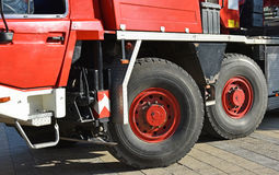 Tires of a large crane vehicle Royalty Free Stock Photography