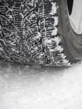 Tires leave footprints snow Royalty Free Stock Images