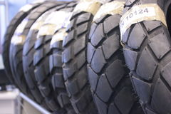 Tires Motorcycle After Sales. Dealership Royalty Free Stock Photo