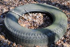 Tires. Old tires left in a wooded area Stock Photo