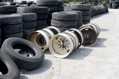 Tires and Old Rims Royalty Free Stock Photography