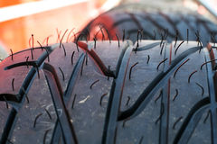 Tires in paddock Royalty Free Stock Image
