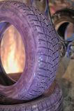 Tires painted in lilac Royalty Free Stock Photography