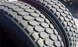 Tires: Recaps. An image of a set of recapped tires on a semi truck Royalty Free Stock Images