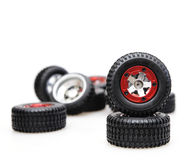 Tires on red rims Stock Photos