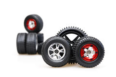 Tires on red rims Stock Image
