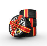 Tires with ribbon - 3d render Royalty Free Stock Images