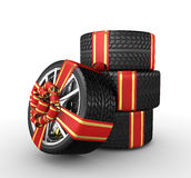 Tires with ribbon - 3d render. Tires with ribbon on the white background - 3d render Stock Image