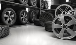Tires and rims for car Stock Images