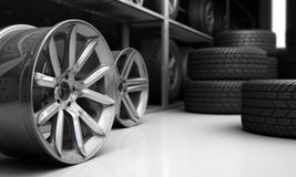 Tires and rims for car Royalty Free Stock Image