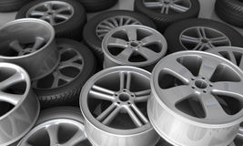 Tires and rims for car Royalty Free Stock Photography