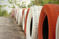 Tires on the road at the speedway. Royalty Free Stock Photos