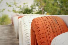 Tires on the road at the speedway. Stock Photos