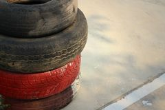 Tires on the road at the speedway. Stock Photo