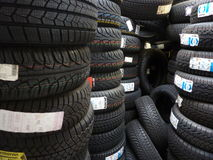 Tires for sale. Wide range of tires royalty free stock images