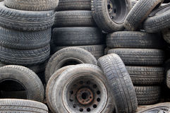 Tires in scrap yard Stock Photography