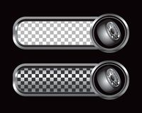 Tires on silver and black checkered tabs Stock Images
