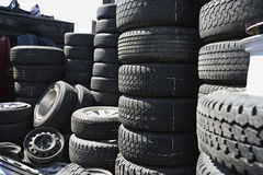 Tires Stacked Up In Junkyard Stock Photo