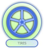 Tires symbol and icon. Commercial icons and symbols of car parts - Tirles Royalty Free Stock Images