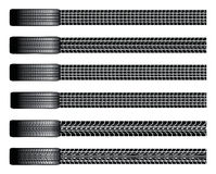 Tires and Tire Tracks. Illustration of six different tires from a birds eye view and their tire tracks Stock Photo