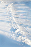 Tires Tracks in the Snow Royalty Free Stock Images