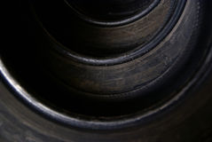 Tires, tyre, pneu, pneumatics. Detail of tires in a row Royalty Free Stock Image