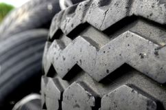 Tires. Used tires on black ground Stock Photo