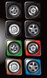 Tires and various rims in square web buttons Royalty Free Illustration