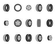 Tires, wheel disks auto service vector icons Royalty Free Stock Photography