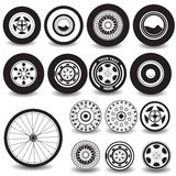 Tires and wheels black icons. Vector illustration of different tires and wheels black icons on white background stock illustration