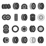 Tires and wheels icon set vector illustration royalty free illustration