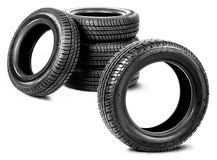 Tires on the white background Royalty Free Stock Photography