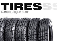 Tires on the white background Stock Photos