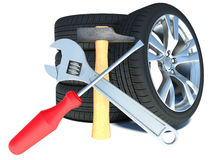 Tires on white background. car repair Royalty Free Stock Photos