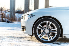 Tires in winter on the snow in front Stock Photo