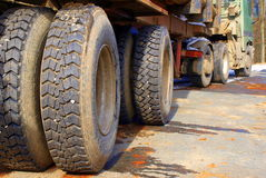 Tires of wood truck Stock Photography