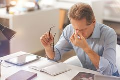 Sick mature man feeling a headache. Tiresome day. Depressed unhealthy mature man sitting in the office and touching his nasal bridge while feeling sick Stock Photos