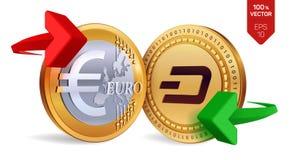 Tiret à l'euro change  dash Euro pièce de monnaie Cryptocurrency Pièces de monnaie d'or avec le symbole de tiret et d'euro avec l Photos libres de droits