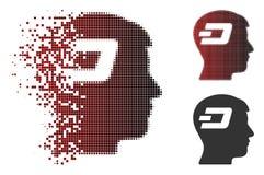 Tiret tramé dispersé Brain Icon de pixel Photographie stock libre de droits