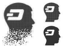 Tiret tramé pointillé détruit Brain Icon illustration de vecteur