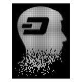Tiret tramé pointillé dispersé blanc Brain Icon illustration stock